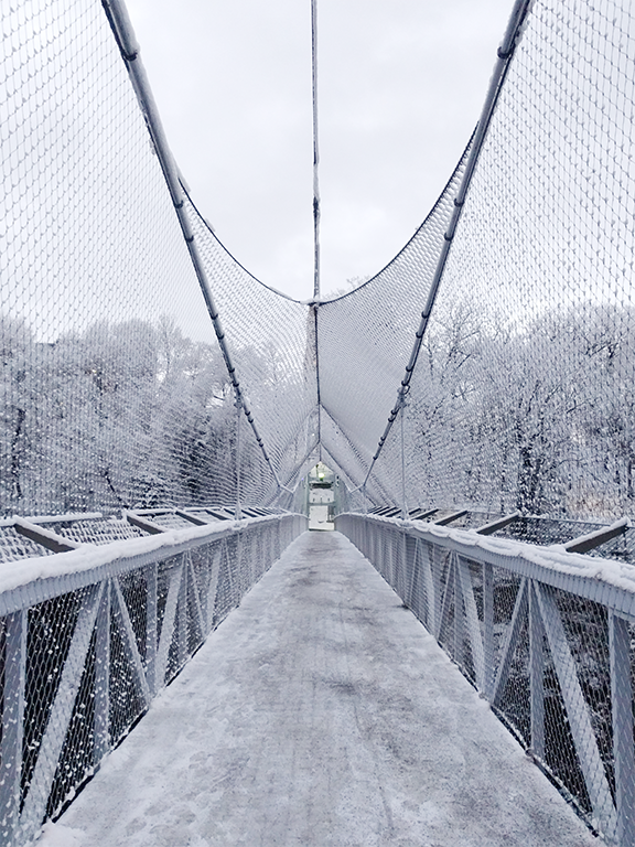Ithaca suspension bridge with snow 2